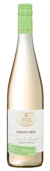 Bottle of Brown Brothers' John G. Brown Explorer Series Pinot Gris