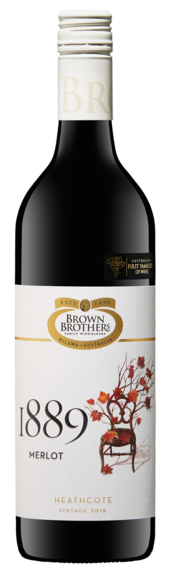 Bottle of Brown Brothers' 1889 Merlot